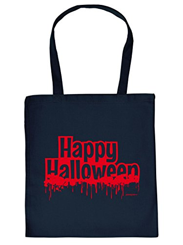 Halloween Tragetasche - Happy Halloween - gruseliges Mitbringsel, Goodman Design Navy-Blau (Designs Halloween-friedhof)