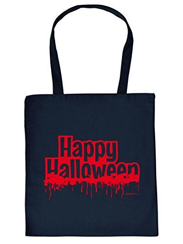 Halloween Tragetasche - Happy Halloween - gruseliges Mitbringsel, Goodman Design Navy-Blau (Halloween-friedhof Designs)