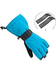 Bwiv Unisex Ski Gloves Wrist Guard Outdoor Sport Winter Waterproof Thermal for Cycling, Professional skiing, Mountaineering, Snowboard