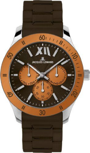 Jacques Lemans Rome Sports Unisex Brown Silicone Strap Watch