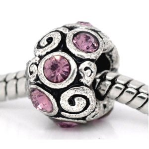 1 X Spacer with Purple Stones Charm Bead will fit European style bracelets.