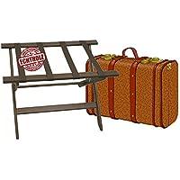 Kerafactum klappbarer Kofferständer Gepäckständer Koffer Hocker oder Tablettablage - edles Holz