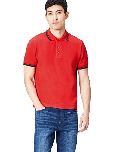 Activewear Polo Estilo Vintage para Hombre, Rojo (Classic Red/navy), Large