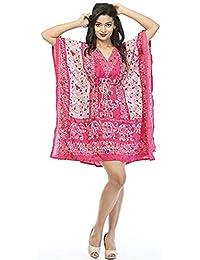Classic Wear Women Kaftan Dress Beach Cover Up Ladies Fashion Kaftan Boho Beachwear Swimwear Coverup Holiday Dress Free Size - Pink