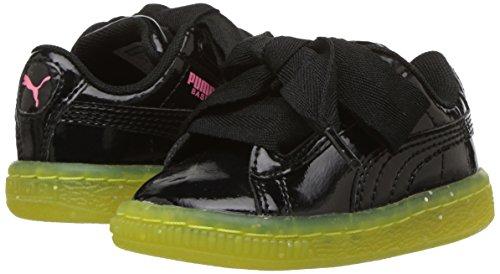 PUMA Unisex-Kids Basket Heart Iced Glitter Block Sneaker  Black-Sulphur Spring  1 5 M US Little Kid
