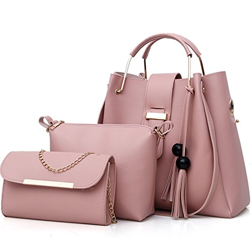FiveloveTwo Damen 3Pcs PU Leder Tasche Set Handtasche + Schultertasche + Umhängetasche Henkeltaschen Rucksackhandtaschen Shopper Clutches Handbag Set Tote Tragetaschen Rosa