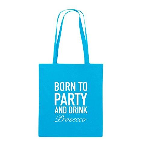 Comedy Bags - BORN TO PARTY - Prosecco - Jutebeutel - lange Henkel - 38x42cm - Farbe: Schwarz / Pink Hellblau / Weiss