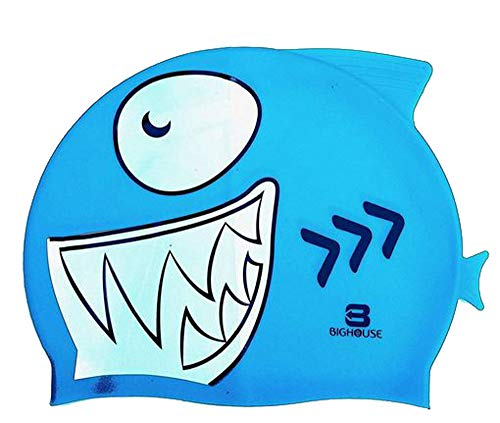 BigHouse Schwimmkappe - Badekappe Silikon in Form Eines Hai - Einheitsgröße (BLAU MARINE)