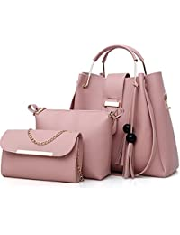 FiveloveTwo Women Purse and Handbags 3 Pcs Bag Set PU Leather Tassel Totes  Clutch Satchels Top a4f90da825491