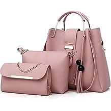 364f1be01d FiveloveTwo 3Pcs Bag Set PU cuir Sac portés main + Fourre-Tout + Sac à