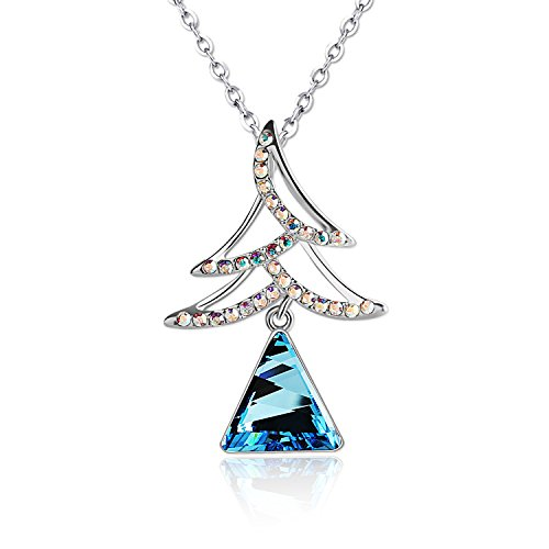 Pealrich Womens Christmas Tree Sapphire Necklace-Xmas Women Gifts ideas-Made with Swarovski Crystal Elements 18``