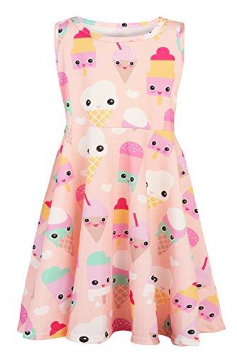 Kleine Mädchen Geburtstag Kleid (Funnycokid Eiscreme-Kleid der Kleinen Mädchen Druckte Ärmelloses Skater-Kleid)