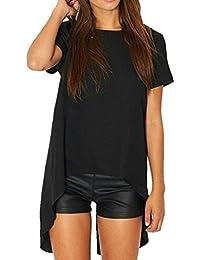 Frau übergroßes schwarzer Kurzarm lässig Ausgehen Abend oben mit einem stilvollen Schlitz in schwarz. Größe 40-42
