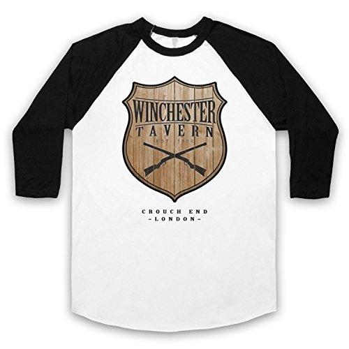 Inspiriert durch Shaun Of The Dead Winchester Tavern Unofficial 3/4 Hulse Retro Baseball T-Shirt Weis & Schwarz