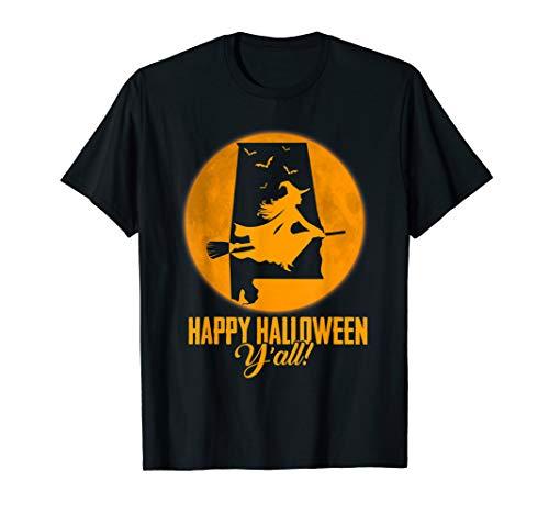 Happy Halloween Y'all Alabama Witch Map T-shirt (All Happy Halloween, Y)