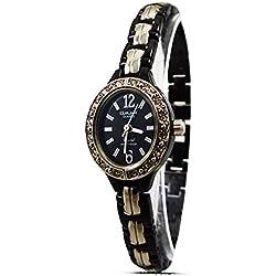 New Fashion Bracelet Style Ladies Watch Black & Silver Strap Analogue Dial Quartz