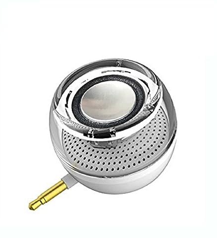 Haut-parleurs sans fil, Leadsound Crystal 3W 27mm; Mini haut-parleur portatif avec jack audio auxiliaire de 3,5 mm Plug in Clear Bass Micro USB port audio Dock pour téléphone intelligent, pour iPad, ordinateur (Blanc)