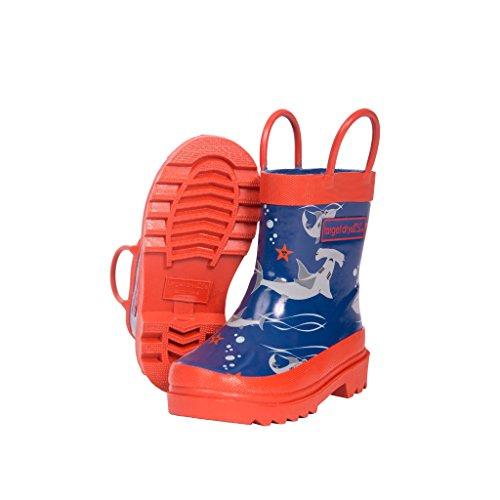 Target Dry Jungen Gummistiefel mit Oscar Hai Muster Marineblau/Orange