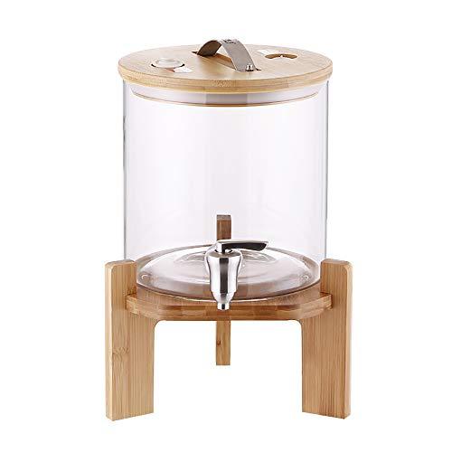 Q-Y-J Dispensador De Bebidas Glass Jar, Frasco Libre De Fugas Y Tapa De Bambú, Estante De Bambú, Café Helado, Té, Limonada, Agua para Picnics Partes De Vidrio Transparente De 5,5 L / 8,5