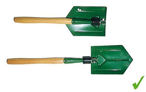 PRAKTISCHER MULTIFUNKTIONALER KLAPPSPATEN Hacke Schaufel mit stabilem Holzgriff für Auto Garten Camping etc.