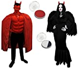 Déguisement pour couple adulte du diable des enfers et de l'ange noir déchu. Parfait pour les fêtes d'Halloween ou les enterrements de vie de garçon et de jeune fille. ( Femme Medium - Homme Standard )