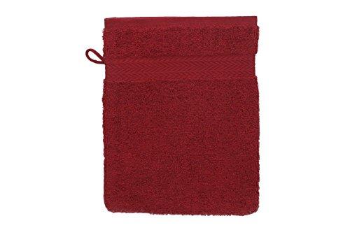 BETZ Gant de Toilette pour Visage Corps Gant de Toilette Taille 16x21 cm 100% Coton Premium Couleur Rouge foncé