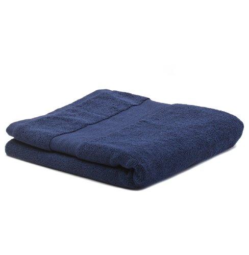 URBANARA Handtuch/Duschtuch Salema - 100% reine Supima® Baumwolle, Marineblau, Frottee in 700 GSM mit geriffelten Band - 100 x 150 cm Band Gsm