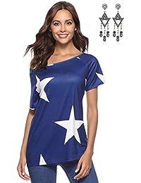 abf73524fc13c1 BUOYDM Donna Camicetta Estivo Camicia Casuale T-Shirt Basic in Cotone Senza  Spalline Stampate Stella Maglietta Top…