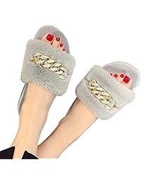 Upxiang Damen Böhmische Fluffy Faux Pelz flachen Slipper, Damen Slip Sandale, Leder flauschige Plüsch Pantoffel Faux Pelz Pantoffel, Faux Pelz Sandalen Outdoor Indoor (36, Hot Rosa)