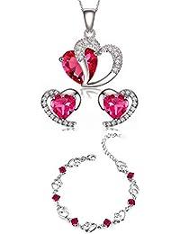 9253cd06d71c6 Ensemble de boucles d'oreille et collier avec pendentif en argent sterling  améthyste cristal bleu