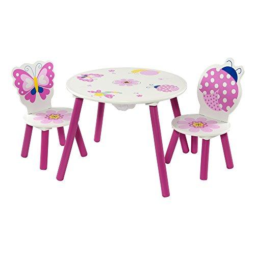 Momo Butterfly - Juego de mesa y 2 sillas infantiles, diseño de mariposas y mariquitas