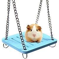 AOLVO Dwarf Hamster Toys, Colored Swing/Hamaca/casa/esconder/Cama con Campana para hámster Sirio, Jaula Grande, Accesorios de hábitat para Erizo, cobaya, Guante de azúcar, Chinchilla – Azul