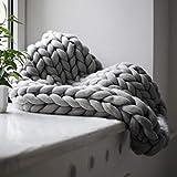 Ruirain-DE Comfortable Keep Warm Soft Thick Line Giant Yarn Knitted Blanket Handmade Manual Weaving Photography Props Blankets