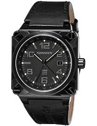 Torgoen T26106 - Reloj analógico de caballero de cuarzo con correa de piel negra