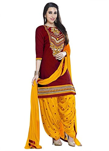 Lady Loop Women'S Cotton Dress Material Salwar Suit Set (Lado Red Print_Beige_Free...
