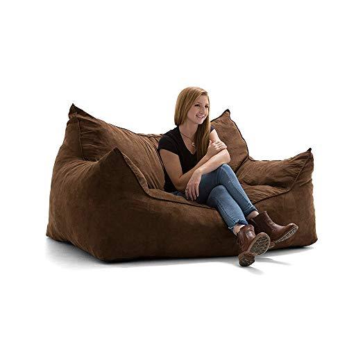 YLOVOW Luxuriöser Sitzsack mit Bezug aus Microsuede, Maschinenwaschbarem, Großem Sofa und Riesigen Liegemöbeln für Kinder, Jugendliche und Erwachsene,Braun