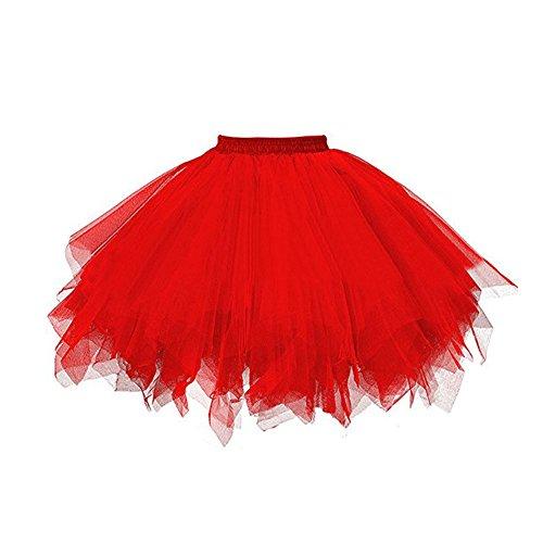 Petticoat Tutu Damenrock Tüllrock 50er Kurz Ballet Tanzkleid Unterkleid Cosplay Crinoline Unterrock für Rockabilly Kleid Red (Kinder Rock And Roll Tanz Kostüme)
