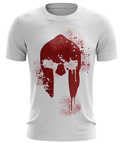 Stylotex Fitness T-Shirt Spartan Helmet Funktions-Stoff schnelltrocknend, Farbe:weiss;Größe:XXL