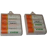 Lot 8 piles rechargeables vhbw AA Micro R3, HR03 2500mAh pour Sony Cyber-shot DSC-P43, DSC-P51, DSC-P52, DSC-P71, DSC-P72, DSC-P73, DSC-P92