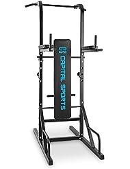 Capital Sports Spiris - Rack à squat multifonction avec banc repliable et supports pour haltères : chaise romaine, tractions, dips, pompes, développé-couchés