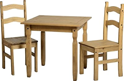 Mercers Furniture Corona Rio Dining Table and 2 Chairs, Wood, Pine - low-cost UK dining table shop.