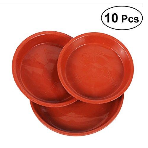 OUNONA - 10 platillos de plástico para Maceta de plástico, Bandeja de Goteo para Sujetar goteos de Agua y Suelo, 350 mm (Rojo)