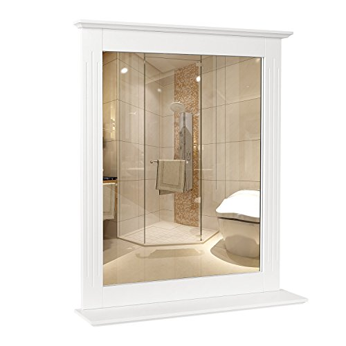 HOMFA Espejo Baño Espejo pared balda dormitorio Blanco