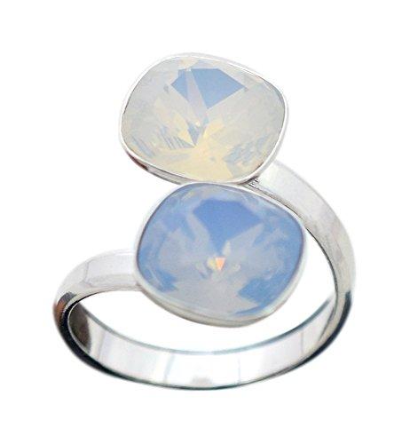 Crystals & Stones Swarovski - DOPPELT SQUARE - DOPPELT FARBE - 925 Silber Ring Swarovski Elements - 925 Sterling Silber Damen Ring Größe Verstellbar (White Opal/Air Blue) (Echter Opal Ring Größe 7)