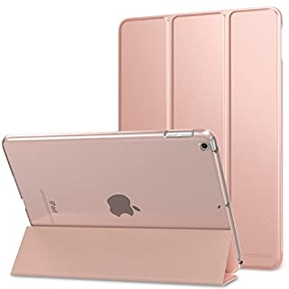 MoKo Case for iPad 9.7 2018/2017 - Ultra Slim Lightweight Smart-shell Stand Cover with Translucent Frosted Back Protector for Apple iPad 9.7 Inch (iPad 5, iPad 6), Rose GOLD (Auto Wake/Sleep)