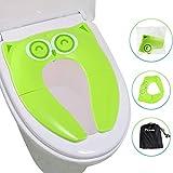 Firares Cómodo Plegable WC Asientos para Niños, Practico Fácil de plegar WC Adaptador pare casa, viajar y llevar a cualquier sitio - con 6 pcs Gomas Antideslizante Asiento Inodoro para bebés - Verde