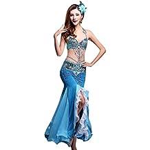 YiJee Mujer Oriental Danza del Vientre Disfraz Lentejuelas Borla Belly Dance Bra and Falda