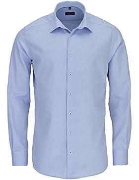 ETERNA Herren Langarm Hemd Modern Fit blau / hellblau strukturiert mit Piping 4194.10.X18P