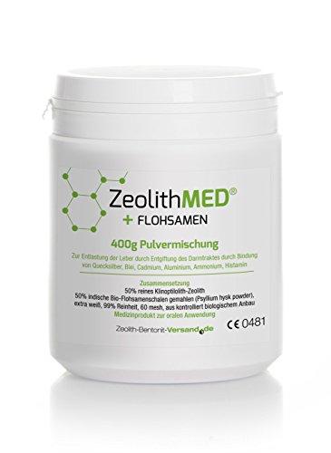 Zeolith MED + Flohsamen Pulvermischung, 1er Pack (1 x 400 g)