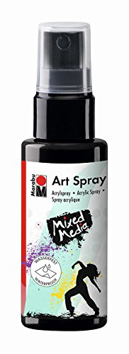 Marabu 12090005073 - Art Spray, brillantes Acrylspray m. Pumpzerstäuber auf Wasserbasis, ideal z. Schablonieren auf Leinwand, Papier und Holz, schnell trocknend, lichtecht, wasserfest, 50 ml, schwarz -